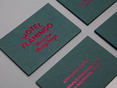 Visual identity for Hotel Flamingo designed by Patrick Fry. Feng Shui, Visiting Card Design, Bussiness Card, Identity Design, Brand Identity, Visual Identity, Flamingo Print, Book Layout, Name Cards