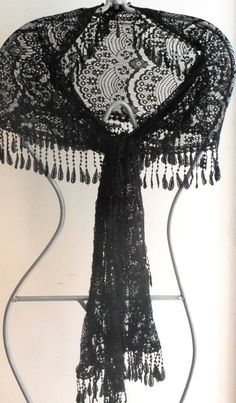 Discover recipes, home ideas, style inspiration and other ideas to try. Lace Veils, Lace Scarf, Vintage Scarf, Floral Lace, Vintage Black, Lace Dress, Style Inspiration, Shawl, Beautiful