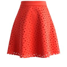Chicwish Floral Cutout A-line Skirt ($42) ❤ liked on Polyvore featuring skirts, red, red knee length skirt, cut out skirt, geometric print skirt, a line skirt and knee length a line skirt