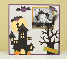 #Cricut   Project Center - Haunted House Layout -- great way to show case a favorite costume pic - display in a frame before moving it into the scrapbook.