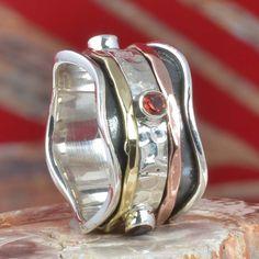 925 SOLID STERLING SILVER GARNET CUT SPINNER RING 8.15g DJR11337 SZ-7.5 #Handmade #Ring