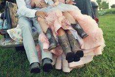 Rustic wedding, country wedding, vintage wedding, boots photo