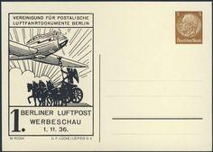 Germany, German Empire, Deutsches Reich 1936, 3 Pfg.-GA-Privatpostkarte zur 1. Berliner Luftpost-Werbeschau, ungebr. (Mi.-Nr.PP122C2902). Price Estimate (8/2016): 10 EUR. Unsold.