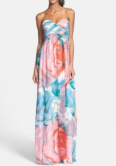 Blue Flowers Print Bandeau Off Shoulder Chiffon Party Maxi Dress