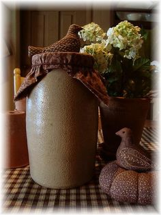 Tall Early Tan Stoneware Canning Jar Storage Crock w/ Brown Calico Cover & Bird