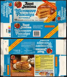 Aunt Jemima breakfast food - about the time we were in junior high school, microwavable breakfast foods hit the market and we were so glad to have a quick, warm breakfast!!  These and Morton's mini donuts and honey buns!!! MMMMmmmmm!!!!