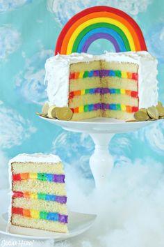 This rainbow cake is so fun and colorful! Rainbow lovers will go crazy over the fondant rainbow on top and rainbow frosting on the inside. Fondant Rainbow, Rainbow Frosting, Rainbow Cakes, Rainbow Desserts, Rainbow Birthday Cakes, Unicorn Rainbow Cake, Rainbow Sweets, Colorful Desserts, Cupcakes