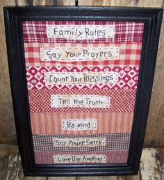 Primitive Country Family Rulles Framed Stitchery by Me2UPrimitives