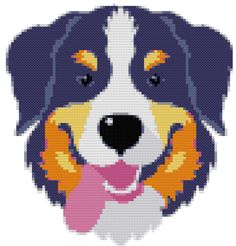 Bernese Mountain Dog Breed Cross Stitch Pattern graph  pattern and tutorial instant download by AmericanPooch on Etsy
