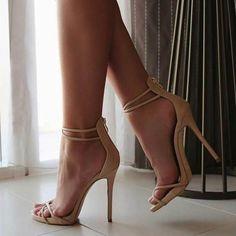 Shoespie Nude Plain Zipper Stiletto Heel Sandals