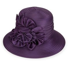 Giovannio Embellished Derby Hat (€49) ❤ liked on Polyvore featuring accessories, hats, purple, purple hat, embellished hats, bowler hat, brimmed hat and flower hat