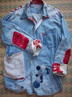 #denim #shirt #patchworks #embroidery