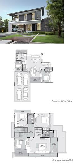 architect design for bunglow new pattern sketch Dream House Plans, Modern House Plans, Modern House Design, House Floor Plans, Future House, My House, Villa Plan, Villa Design, Facade House