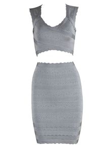 Gray Two piece Bandage Dress