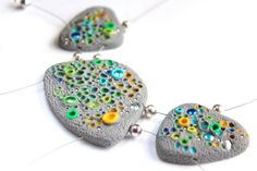Polymer Clay Necklace - Organic Substance of Joy - organic texture juicy colourful necklace with silver beads on Etsy, $80.00