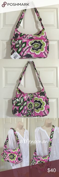 """NEW Vera Bradley On The Go Purse in Priscilla Pink NEW WITH TAGS Authentic Vera Bradley On The Go Purse in Priscilla Pink. Can be worn as a Crossbody or a shoulder bag!   (This pattern was introduced March 2012 and retired February 2013)  • Side slip pockets and a large zippered pocket on back • Interior has 3 slip pockets plus a sturdy removable base • Dimensions: 11.5""""L x 4.25""""D x 8.5""""H with 42"""" adjustable strap  🎀 I have more VERA BRADLEY, Check out my other items!  ❌ PRICE FIRM 📷…"""