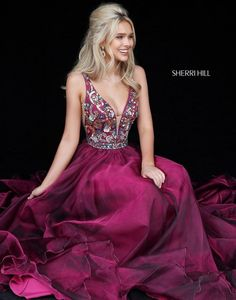 3aa99f3e7bc0 Sherri Hill 51391 Magenta Maroon Dark Pink Flowy Dress with beaded bodice  deep v neckline Ypsilon