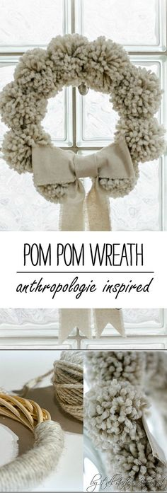 Easy to make Anthropologie inspired pom pom wreath; includes full diy tutorial on how to make your own pom pom wreath. Noel Christmas, All Things Christmas, Christmas Wreaths, Christmas Decorations, Winter Wreaths, Pom Pom Decorations, Spring Wreaths, Summer Wreath, Wreath Crafts
