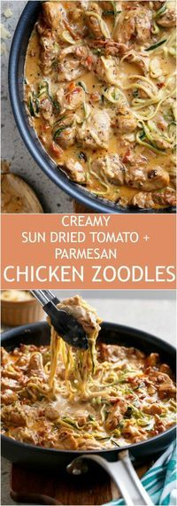Creamy Sun dried Tomato + Parmesan Chicken Zoodles make the craziest low carb co. - Creamy Sun dried Tomato + Parmesan Chicken Zoodles make the craziest low carb comfort food! Zoodle Recipes, Spiralizer Recipes, Pasta Recipes, Low Carb Recipes, New Recipes, Chicken Recipes, Dinner Recipes, Cooking Recipes, Healthy Recipes