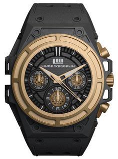 Linde Werdelin. SpidoSpeed watch in rose gold with DLC titanium and calfskin strap. POA