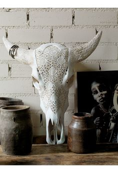 Carved Longhorn White - Home Decoration