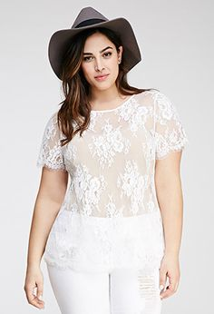Eyelash Lace Top | FOREVER21 PLUS - 2000134738