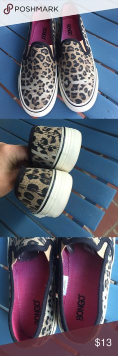 Cheetah print slip on sneakers They look like Vans but they are made by bongo. Excellent condition. Size 7 BONGO Shoes Sneakers