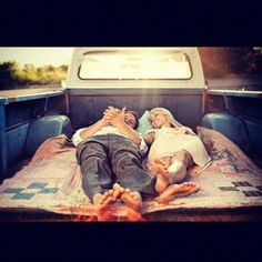 Laying in the bed of a pickup truck. Date Night ❤ liked on Polyvore featuring pictures