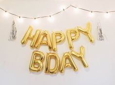 HAPPY BDAY letter balloons - gold/silver foil mylar letter balloons - banner with tassels kit by OhShinyPaperCo on Etsy https://www.etsy.com/listing/214409281/happy-bday-letter-balloons-goldsilver