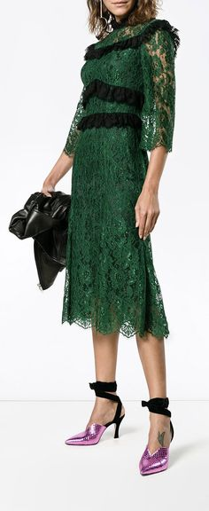 DOLCE & GABBANA ruffle-trimmed lace midi-dress, explore new season partywear on Farfetch now.
