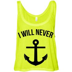 Neon Yellow Cropped Tank Top I Will Never Let You Sink Summer Outfit... ($15) ❤ liked on Polyvore
