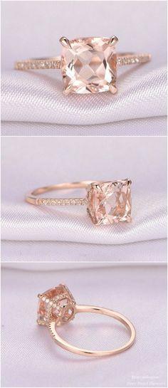 8mm Cushion cut Pink Morganite Engagement Ring / http://www.deerpearlflowers.com/rose-gold-engagement-rings-from-milegem/2/
