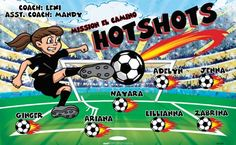 Hotshots B55288  digitally printed vinyl soccer sports team banner. Made in the USA and shipped fast by BannersUSA.  You can easily create a similar banner using our Live Designer where you can manipulate ALL of the elements of ANY template.  You can change colors, add/change/remove text and graphics and resize the elements of your design, making it completely your own creation.