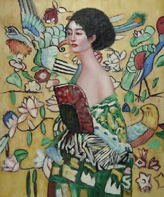 Signora con Ventaglio Oil Painting by Gustav Klimt  https://www.artexperiencenyc.com/social_login/?utm_source=pinterest_medium=pins_content=pinterest_pins_campaign=pinterest_initial