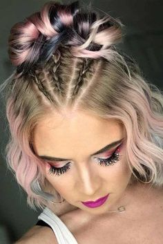 30 So Cute Easy Hairstyles for Short Hair - Hair Styles 2019 Short Hair Styles Easy, Braids For Short Hair, Short Hair Cuts, Natural Hair Styles, Fun Braids, Cute Hairstyles For Short Hair, Box Braids Hairstyles, Trending Hairstyles, Short Braided Hairstyles