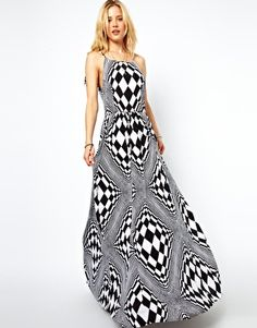 ASOS Maxi Dress In Optical Art Print