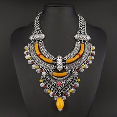 fashion silver plated national style Bohemian Resin hollow Necklace & Pendant Jewelry