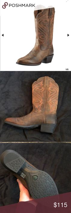 Round Up R Toe Western Boot Ariat Brand new Ariat western boot  Never been worn  Dark Toffee color with burnt orange detailing  Size 7.5- I'm usually an 8 and these fit almost perfect just a bit snug Ariat Shoes