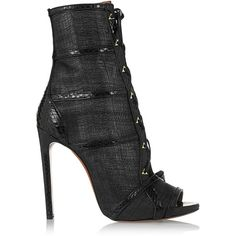 Alaïa Watersnake-trimmed raffia ankle boots ($875) ❤ liked on Polyvore featuring shoes, boots, black, lace-up platform boots, lace-up ankle boots, short black boots, black bootie and black high heel boots