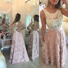 Prom Dresses,Pink Evening Gowns,Lace Formal Dresses,Backless Prom Dresses,Fashion Evening Gown,Beautiful Evening Dress,Pink Formal Dress,lace Prom Gowns PD20181720