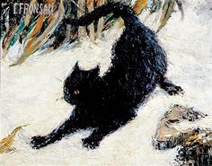 """Cat Playing,"" Elizabeth Fearne Bonsall, oil on canvas, 16 x private collection. I Love Cats, Crazy Cats, Charles Darwin, Black Cat Art, Black Cats, Black Kitty, Cat Sketch, Vintage Cat, Beautiful Cats"