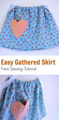 Easy gathered skirt for girls Sewing Tutorial: Learn how to make this easy, ideal for beginner sewists gathered skirt for girls. Easy to adapt to any size!