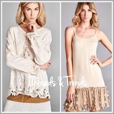 """Embroidered Peasant Blouse Simply divine design. We are loving this look. Embroidered peasant top featuring cut out lace detail hemline and lace up bodice with tassels. Pair with tunic extenders for a unique added touch. Lace extender in above pic available and sold separately. Made of cotton. colors indigo or Ivory. Sizes S/M, L/XL.                               item #0195 S/M Bust 42"""" Length 27"""" L/XL Bust 44"""" Length 27"""" Threads & Trends Tops"""