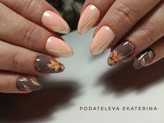 Екатерина Подателева Fall Acrylic Nails, Autumn Nails, Fall Nail Art, Xmas Nails, Diy Nails, Cute Nails, Green Nail Art, Green Nails, Valentine Nail Art