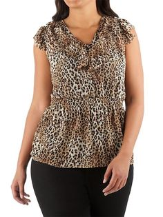 dots: Plus Sheer Animal Print Ruffle V-Neck Blouse (online exclusive!)