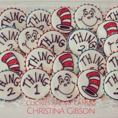 Dr. Seuss Cookies; Thing 1; Thing 2; cat in the hat; Read Across America; Seuss Day; Seuss Snacks; Cookies Are My Canvas