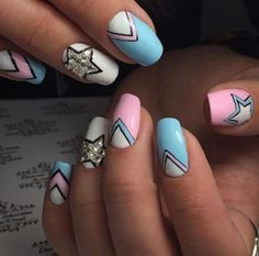 Pastel Colored Starry Geometric Nail Art. This starry nail art design is for all the nature and sky lovers. You can use your different shades and creativity for unique look.