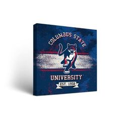 "Victory Tailgate NCAA Banner Version Framed Graphic Art on Wrapped Canvas NCAA Team: Columbus State University Cougars, Size: 12"" H x 12"" W x 1.5"" D"