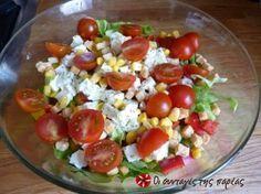 Σαλάτα με καλαμπόκι και φέτα Salad Bar, Cobb Salad, Recipe Images, Greek Recipes, Healthy Nutrition, Caprese Salad, Feta, Salad Recipes, Food To Make