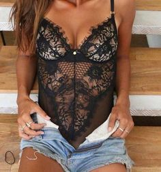 Spaghetti strap deep v-neck eyelash laced lingerie style bodysuit Details - Polyester - Lace - Imported - Delicate Cold Wash - Fits One Size Up